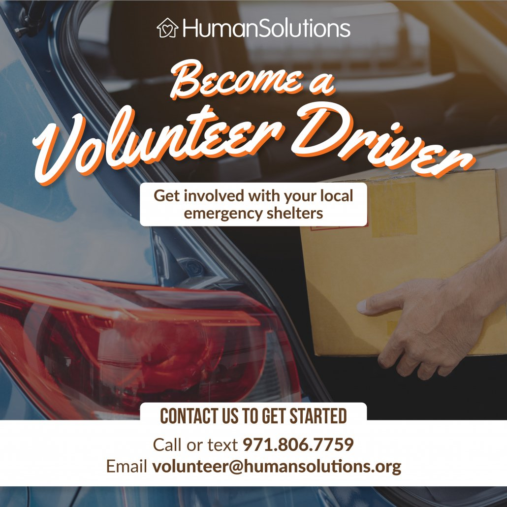 Become a volunteer driver. Get involved with your local emergency shelters.